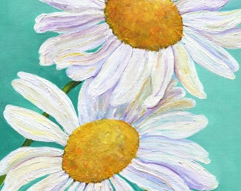 Shasta Daisy Acrylic Painting, floral artwork, home decor, flowers painting, Daisies Painting 9 x 12 daisies, acrylic painting canvas art