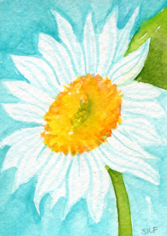 ACEO Daisy Watercolor on Aqua,  Original Painting-  Art Card, White Shasta Daisy Painting in watercolours, miniature art, Flowers paintings