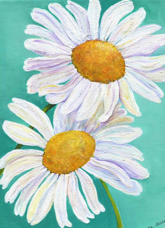 shasta daisy acrylic painting floral artwork home decor
