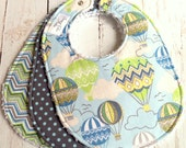 Baby Bibs for Baby Boy  - Chenille Triple Layer Design - Set of 3  - Vintage Hot Air Balloons, Blown Away Chevron & Gray Dots