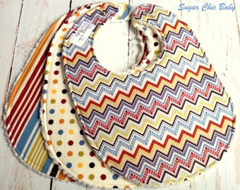 SALE  -  Baby Boy Bibs - Set of 3 Triple Layer Chenille Bibs - Renditions Chevron, Stripes & Polka Dots