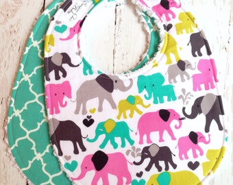 Baby Bibs for Girl  - Set of 2 Triple Layer Chenille  - Multi Pastel Elephant Walk & Teal Quatrefoil