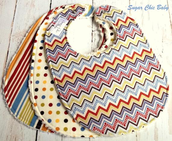 SALE  -  Baby Boy Bibs - Set of 3 Triple Layer Chenille Bibs - Renditions Chevron, Stripes & Polka Dots