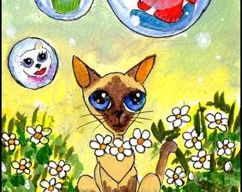 Original Watercolor Art - SFA Life is But a Dream, Cat, Bubbles, Flowers by Patricia Ann Rizzo