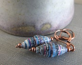 Paper Earrings, Copper Earrings, Earthy Jewelry, Paper Jewelry, Blue Earrings, Blue White Black, Striped Earrings, Copper Chain