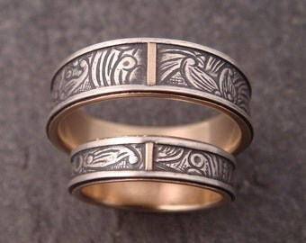Wedding Band Set - 10K Gold Lined Sunflower Rings
