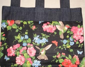 New Denim Walker Bag Hummingbird Flowers 2 Theme