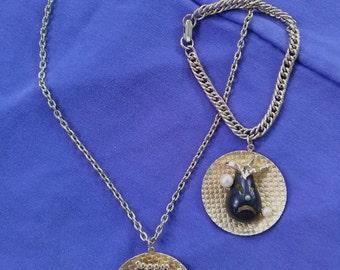 Vintage 1960s Comedy Tragedy Necklace Bracelet Set
