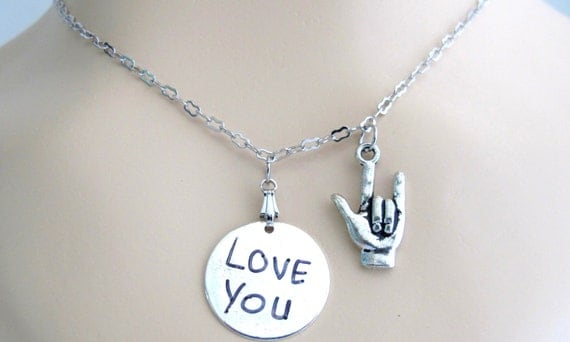 I love You Sign Necklace, I Love You initial necklace,American Sign Language I love you Initial Love You Necklace Free Shipping In USA