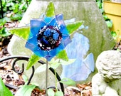 Fused Dichroic Glass Garden Art - Star Flower with Dichroic Center