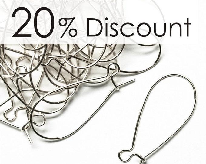 EWBSP-kd30 - Earwire, Kidney Medium, Silver - 50 Pieces (5pk)