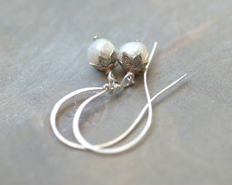 White Pearl Earrings Sterling Silver Petal Bridal Earrings White Wedding Earrings Special Event Earrings Gifts for Mom Gifts for Her