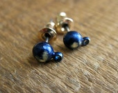 Indigo Brass Ear Posts with Hanging Loop - 1 pair