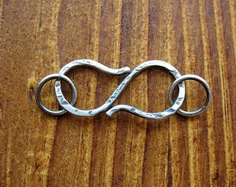 Antiqued Sterling Silver S Clasp with Notched Texture