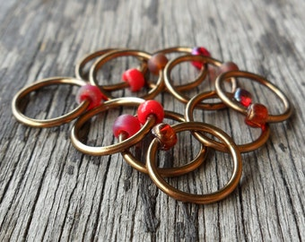 Dangle Free Knitting Stitch Markers Bronze Wire Red With A Hint Of Brown Choose Ring Size and Quantity