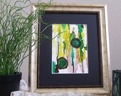 Contemporary abstract painting using alcohol inks in greens, black, matted