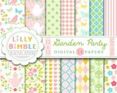 40% off Garden Party digital papers for scrapbooking, cards, invites, flowers, paper, printable download