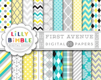 40% off DIGITAL PAPER IN turquoise gray yellow and black scrapbook paper chevron, damask, quatrefoil, polka dots