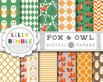 40% off Fox Digital Papers woodland scrapbooking paper owls, paper pack DIGITAL DOWNLOAD