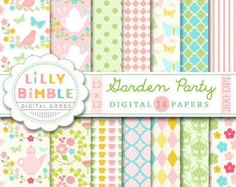 40% off Garden Party digital paper with birds, teapots, flowers, Floral scrapbook paper, commercial Use, Lilly Bimble