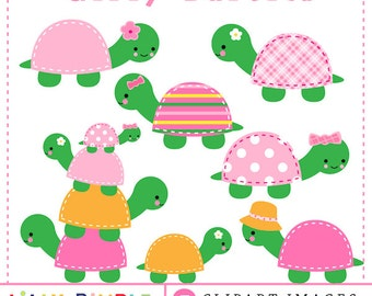 Cute Girl Turtle Clipart cute, kawaii, pink, stitched, stacked, flowers, Birthday Party, Instant Download, girly