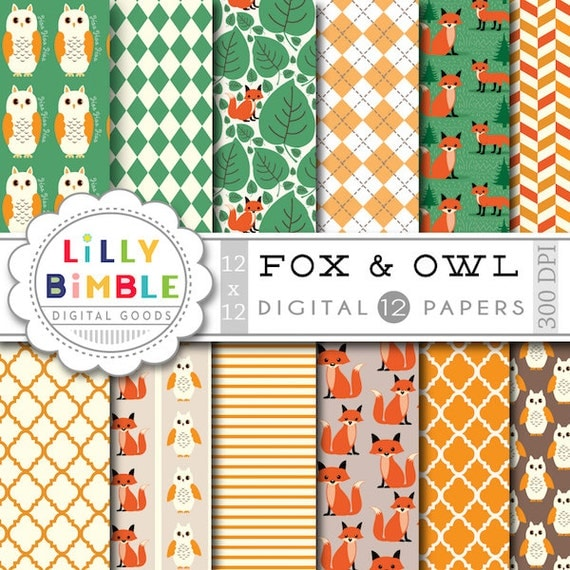 50% off sale Fox Digital Papers woodland scrapbooking paper owls, paper pack DIGITAL DOWNLOAD