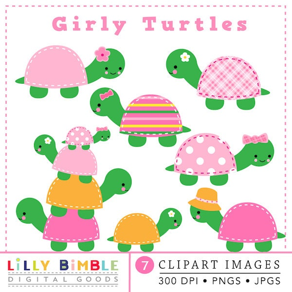 40% off Cute Girl Turtle Clipart cute kawaii pink stitched