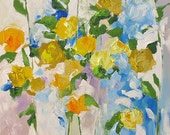 Acrylic Abstract Floral Painting Giclee Print Made To Order Yellow Roses Print Impressionist Fine Art Print Wall Decor by Linda Monfort