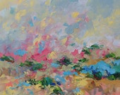 Landscape Abstract Acrylic Painting Giclee Print Impressionist Art Blue Pink Made To Order Large Fine Art Print Wall Decor by Linda Monfort