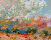 Abstract Landscape Painting Giclee Print of Bright Bold Sunset or Sunrise Made To Order Large Fine Art Print Wall Decor by Linda Monfort