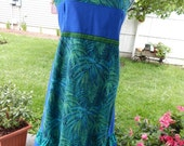 Turquoise Grateful Dead Dancing Bear with Celtic knot Trim Hippie Patchwork Halter Sun Dress Adjustable Festival Clothes Maxi Dress