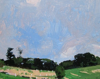 July 5, Run, Original Landscape Painting on Card, Stooshinoff