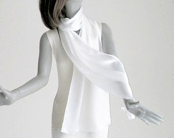 Wedding Shawl, Silk Coverup, White Shawl, Bridal Silk Scarf, Silk Charmeuse, Evening Shawl, White Silk Shawl, S or M or L or Plus, Artinsilk