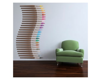 80 inch Tall - Stack of Color Paintbrushes Vinyl Wall Decal