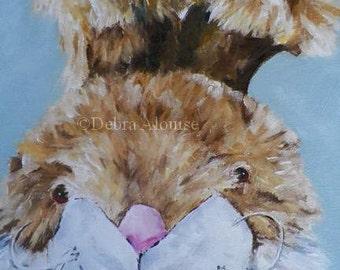 Portrait Stuffed Fuzzy Toy Bunny Rabbit Original Oil Painting Portrait by Artist Debra Alouise