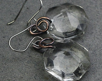 Faceted Glass Earrings Copper Earrings Copper Jewelry