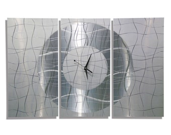 HUGE SALE!! Large Silver Modern Metal Wall Clock, Modern Metal Wall Art,  Abstract Hanging Wall Clock - Contemporary Vibrations by Jon Allen