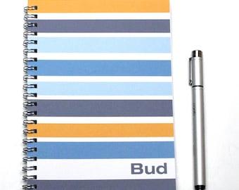 2017-2018 Planner, Personalized groomsman gift Idea, weekly planner, scheduler, gift for man, blue mustard, SKU: pli blue stripe