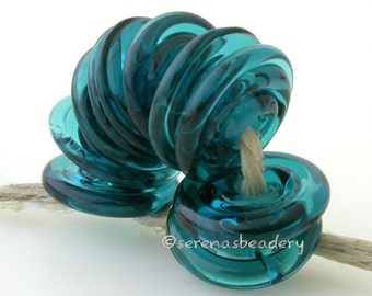 Wavy Disks Lampwork Glass DARK TEAL Glossy & Matte Frosted Beads - TANERES sra blue green