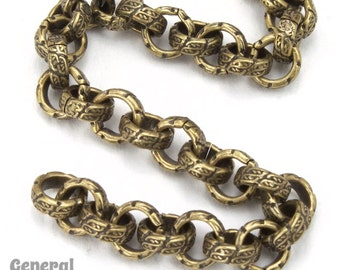 6.3mm Antique Brass Textured Vintage Style Rolo Chain #CC253