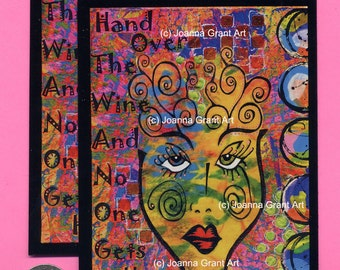 HAND OVER the WINE Mixed Media Art Magnet