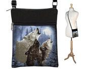CLEARANCE Howling Wolf Moon  Sling Bag for Men or Women, Small Shoulder Bag, Fabric Handbag Crossbody Purse Travel Organizer,  blue RTS
