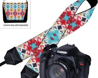 SALE DSLR Camera Strap Navajo Fabric Padded Camera Neck Strap Nikon Camera Strap Canon, Sony etc Southwestern red turquoise blue yellow RTS