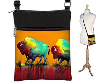 Clara Nilles Sling Bag Shoulder Purse Buffalo Cross Body Bag Small Travel Purse Zipper - Bison  rust orange turquoise RTS