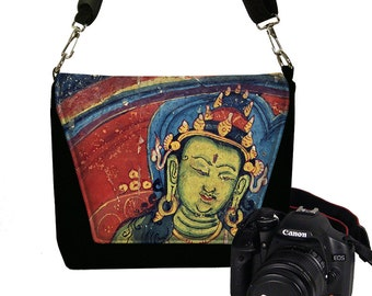 Slr Camera Bag Purse,  Buddha in Jewel Colors, Nikon Canon DSLR Case, Boho Messenger Art Bag, Zipper Pocket, red blue green MTO