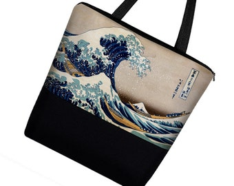 Large Tote Bag with Pockets, Wave Hokusai, Handmade Japanese Art Bag, Asian Canvas Tote bag w/ Zipper, Beach Tote, blue gold black RTS