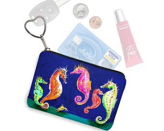 Clara Nilles Seahorse Small Zipper Pouch Coin Purse Keychain Business Card Holder Key Fob  fabric pouch sea horse blue pink green orange RTS
