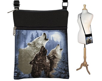 CLEARANCE Howling Wolf Moon  Sling Bag for Men or Women, Small Shoulder Bag, Fabric Handbag Crossbody Purse Travel Organizer,  blue RTS