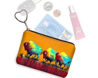 Clara Nilles Small Zipper Pouch Southwestern Buffalo Coin Purse Keychain Key Fob  Business Card Holder Purse Organizer Bison orange RTS