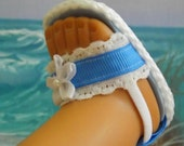 American Girl Doll Clothes Sandals Colonial Blue Ribbon Shoes With White Lace Accents